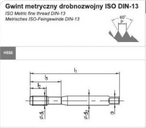 din 371 b 3 300x262 - Gwintownik maszynowy DIN-371-B M10x1 ISO2 (6H)  HSSE 800(FANAR)
