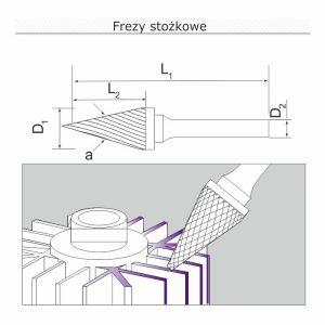frezy stozkowe rysunek 300x300 - Frez stożkowy (pilnik obrotowy) kształt M fi 6mm