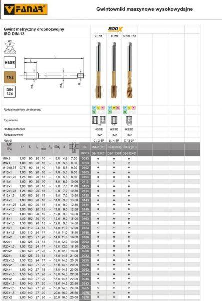 DIN 374 800X 443x600 - Gwintownik maszynowy DIN-374-B M16X1 -6H   800X(HSSE  TN) FANAR