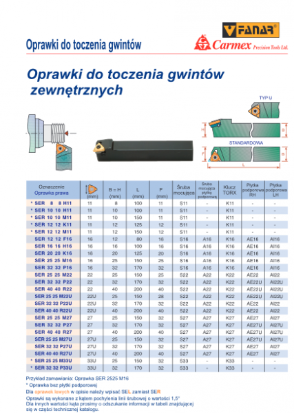 OPRAWKI ZEWNĘTRZNE TAB 427x600 - OPRAWKA DO TOCZENIA GWINTÓW ZEWNĘTRZNYCH PRAWA SER 2020 K16 CARMEX /FANAR
