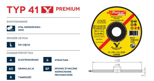TARCZA INOX PREMIUM TYP 41 NR1 600x317 - Tarcza do cięcia 125x1,0x22 typ 41 INOX PREMIUM (PENTAR)